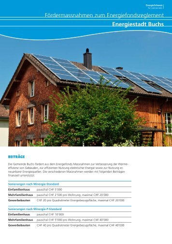 Flyer Energiestadt Buchs: Förderbeiträge