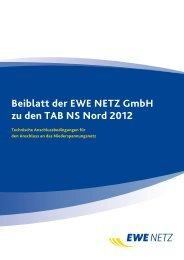 Beiblatt der EWE NETZ GmbH zu den TAB NS Nord 2012 (gültig ab ...