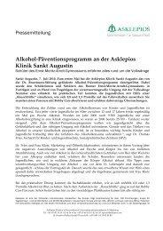 Alkohol-Päventionsprogramm an der Asklepios Klinik Sankt Augustin