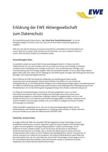 Erklärung der EWE Aktiengesellschaft zum Datenschutz
