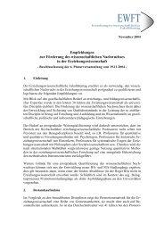Empfehlungen zur Förderung des wissenschaftlichen ... - EWFT