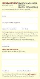 SERVICE-AUFTRAG FÜR WARTUNG/VERSCHLEISS REIFEN ...