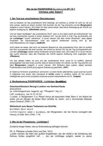 Phosphoros - Christus oder Satan? (PDF-Datei) - Offenbarung.ch