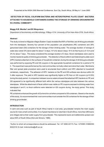 Detection of fecal coliform bacteria and heterotrophic plate - eWISA