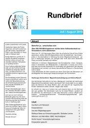 Rundbrief Juli/August 2010 [pdf] - Eine Welt Netzwerk Hamburg eV