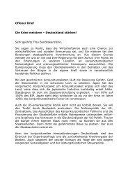 Offener Brief an Bundeskanzlerin Angela Merkel