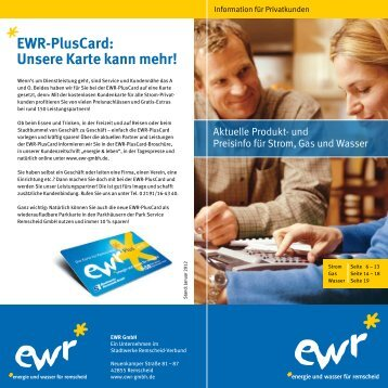 EWR-PlusCard: Unsere Karte kann mehr! - EWR GmbH
