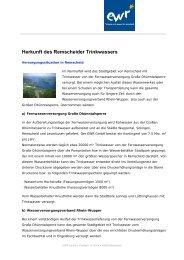 Herkunft des Remscheider Trinkwassers - EWR GmbH
