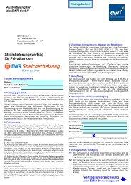 Stromlieferungsvertrag für Privatkunden - EWR GmbH