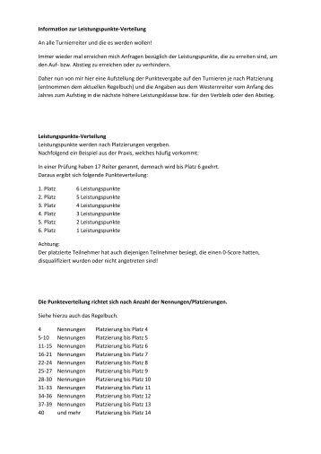 Information zur Leistungspunkte-Verteilung An alle ... - EWU