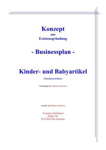Konzept - Businessplan - Kinder- und Babyartikel