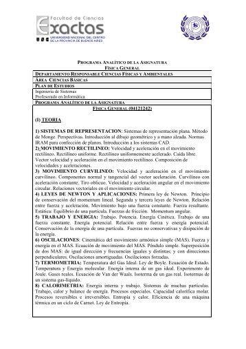 Programa Fisica general - Universidad Nacional del Centro de la ...