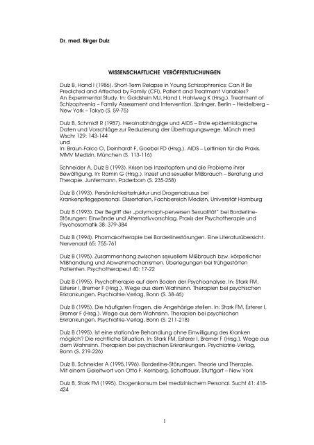 1 Dr. med. Birger Dulz WISSENSCHAFTLICHE - Asklepios