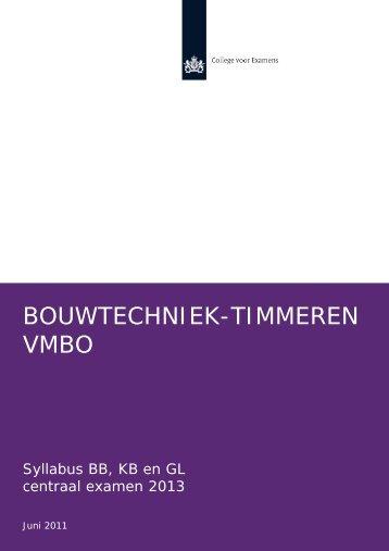BOUWTECHNIEK-TIMMEREN VMBO - Examenblad.nl