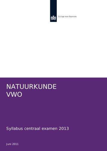 Syllabus natuurkunde vwo 2013 - Examenblad.nl