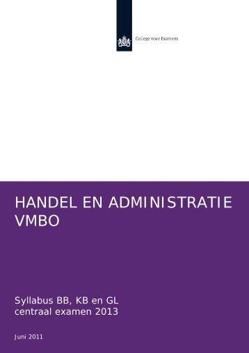 Syllabus handel en administratie 2013, vmbo - Examenblad.nl