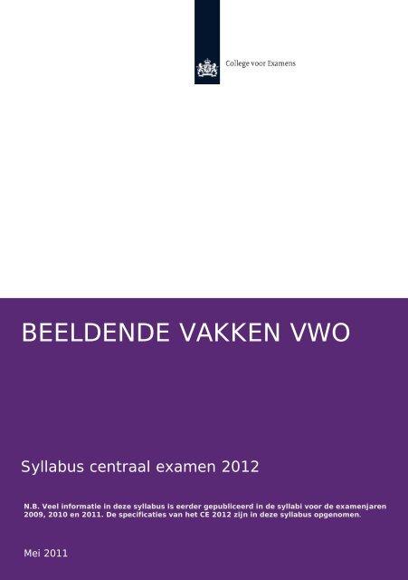 BEELDENDE VAKKEN VWO - Examenblad.nl