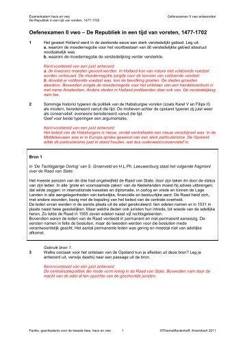 Oefenexamen De Republiek in een tijd van vorsten - Examenkatern ...