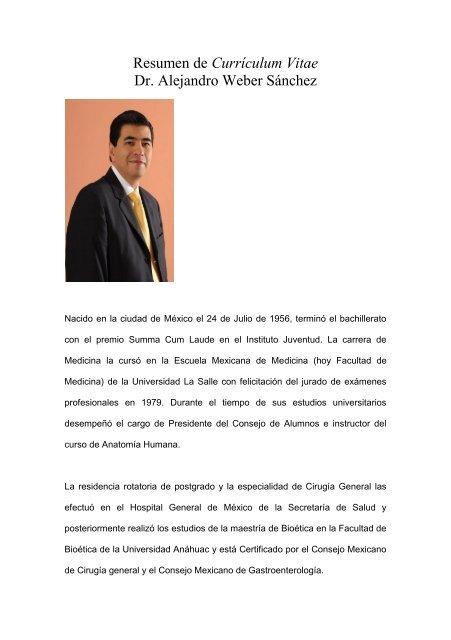 Resumen De Curriculum Vitae Excelencia En Cirugia