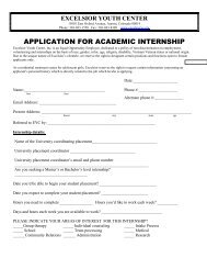 application for academic internship - Excelsior Youth Center