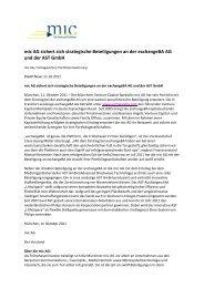 mic AG sichert sich strategische Beteiligungen an der exchangeBA ...