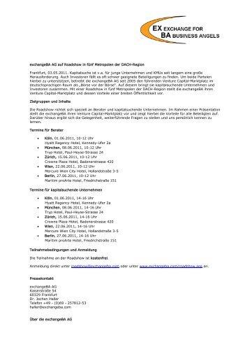 EXBA Exchange for Business Angels GmbH nun mit ... - exchangeBA