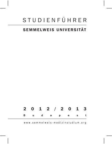 SEMMELWEIS UNIVERSITÄT 2 0 1 2 / 2 0 1 3 - Asklepios