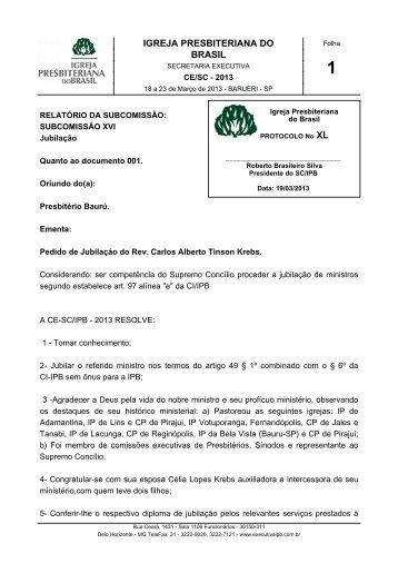 DOC.XL - Secretaria Executiva da IPB