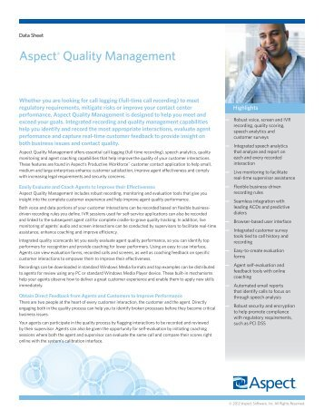 Aspect® Quality Management