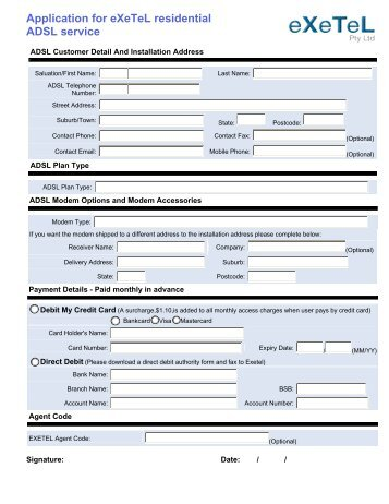Application for eXeTeL residential ADSL service