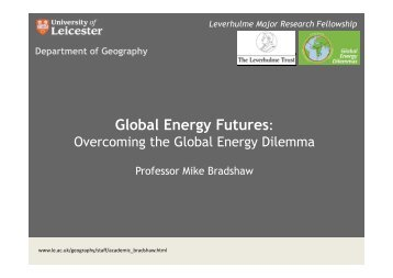 Global Energy Futures: