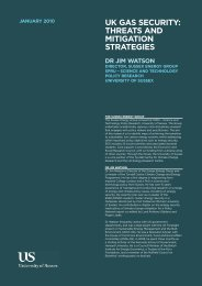 uk gas security: threats and mitigation strategies - University of Sussex