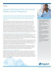 Aspect® Professional Services Social Media Channel Integration