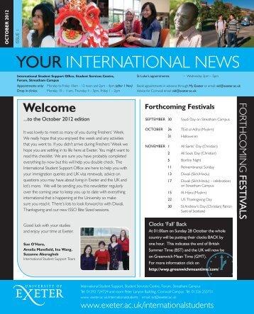 Your International News October 2012 - University of Exeter
