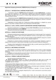 """Regulament Campania promotionala """"EXIMTUR 20 de ani- Europa ..."""