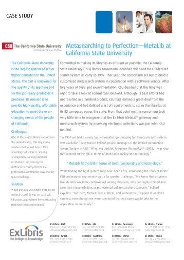 Metasearching to Perfection—MetaLib at California State ... - Ex Libris