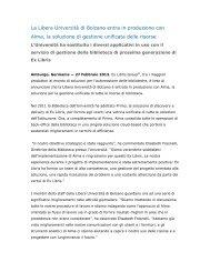 La Libera Università di Bolzano entra in produzione con ... - Ex Libris