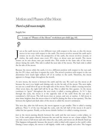 Moon phases activity ii