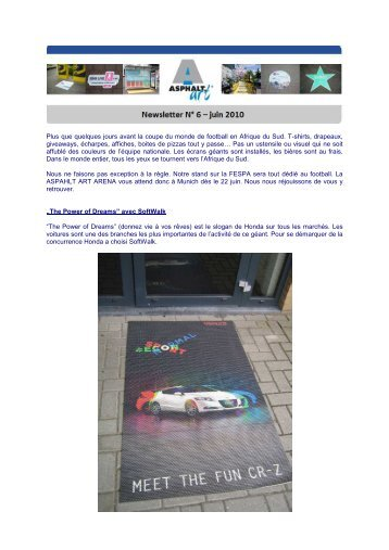 AAI Newsletter Juni 2010 französisch - Asphalt Art International AG