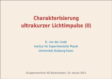 Charakterisierung ultrakurzer Impulse (II)