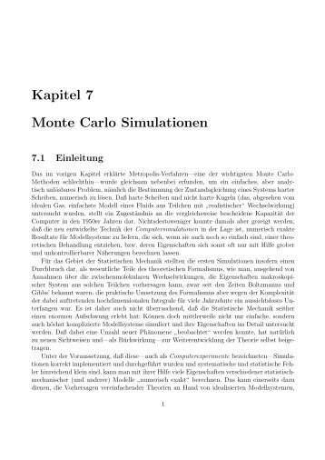 Kapitel 7 Monte Carlo Simulationen
