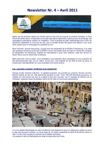 Newsletter Nr. 4 –  Avril 2011 - Asphalt Art International AG