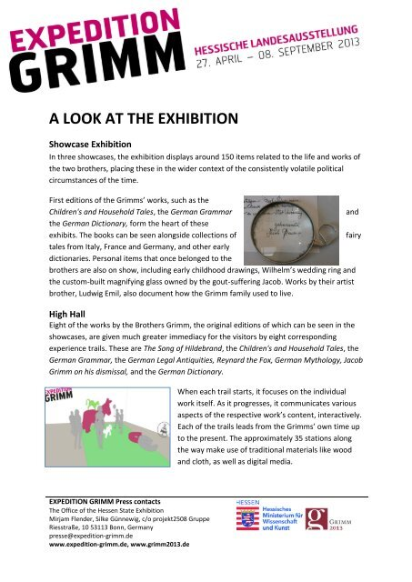 A LOOK AT THE EXHIBITION - Expedition Grimm