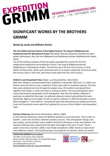 SIGNIFICANT WORKS BY THE BROTHERS ... - Expedition Grimm