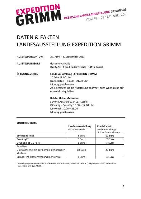 Vorlage für Kombi-Ticket Niedersächsische ... - Expedition Grimm