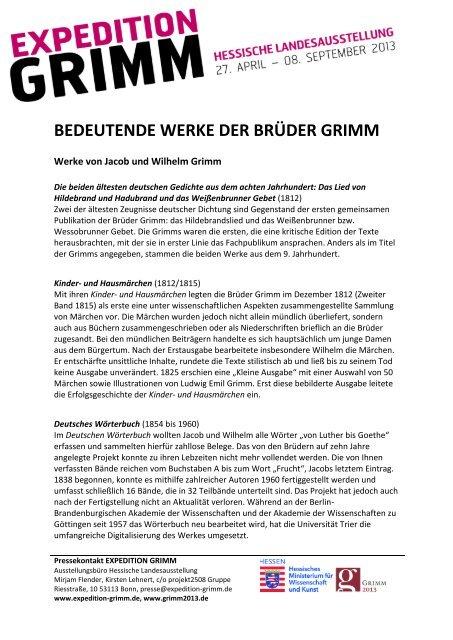 BEDEUTENDE WERKE DER BRÜDER GRIMM - Expedition Grimm