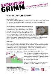 BLICK IN DIE AUSSTELLUNG - Expedition Grimm