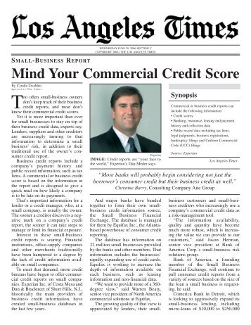 Mind Your Commercial Credit Score - Experian