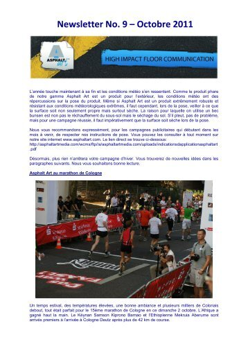 Newsletter No. 9 – Octobre 2011 - Asphalt Art International AG