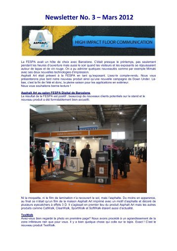Newsletter No. 3 – Mars 2012 - Asphalt Art International AG